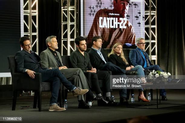 Grant Heslov George Clooney Christopher Abbott Kyle Chandler Ellen Kuras and Luke Davies of the television show 'Catch 22' speak during the Hulu...