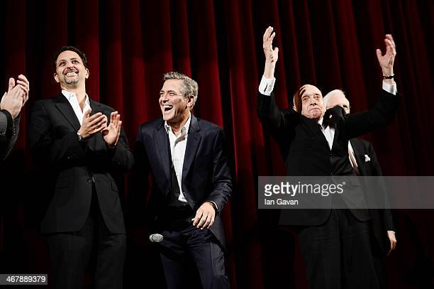 Grant Heslov George Clooney Harry Ettlinger and Robert Edsel on stage at 'The Monuments Men' premiere during 64th Berlinale International Film...