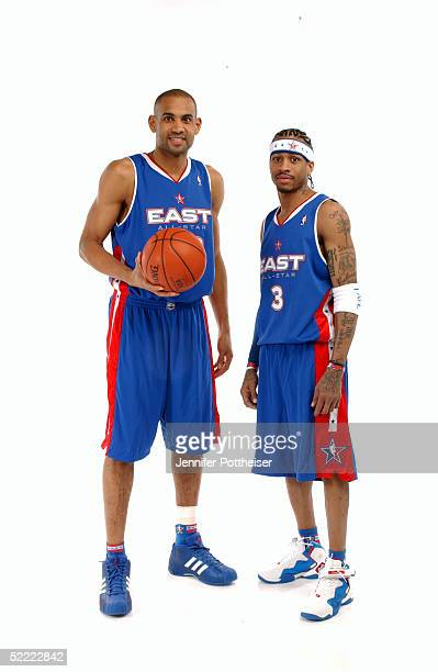 Grant Hill and Allen Iverson of the Eastern Conference AllStars poses for a portrait prior to the 2005 NBA AllStar Game at The Pepsi Center on...