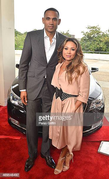 Grant Hill and Tamia attend the UNCF 'An Evening Of Stars' at Boisfeuillet Jones Atlanta Civic Center on April 12 2015 in Atlanta Georgia