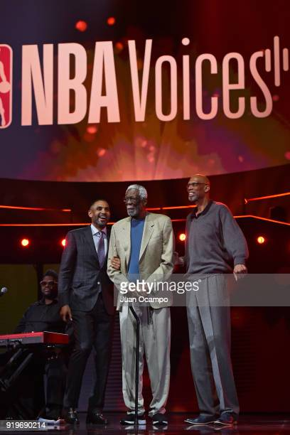 Grant Hill Bill Russell and Kareem AbdulJabbar talk on stage during State Farm AllStar Saturday Night as part of the 2018 NBA AllStar Weekend on...