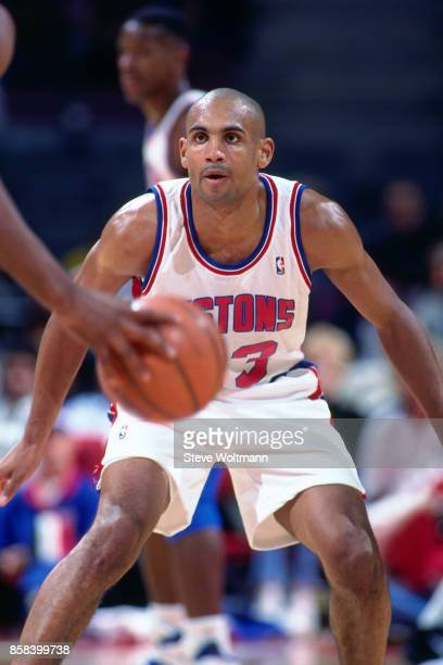 Grant Hill of the Detroit Pistons defends circa 1996 at the Palace of Auburn Hills in Auburn Hills Michigan NOTE TO USER User expressly acknowledges...