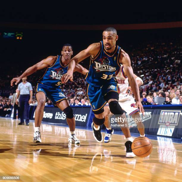 Grant Hill of the Detroit Pistons dribbles during a game played on March 26 1997 at Madison Square Garden in New York City NOTE TO USER User...