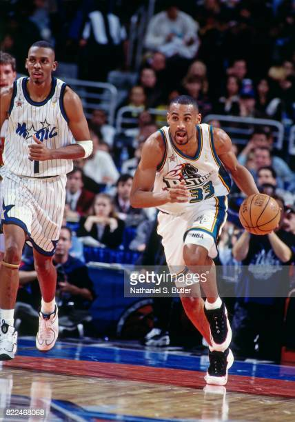 Grant Hill of the Detroit Pistons dribbles during the 1997 AllStar Game on February 9 1997 at Gund Arena in Cleveland Ohio NOTE TO USER User...