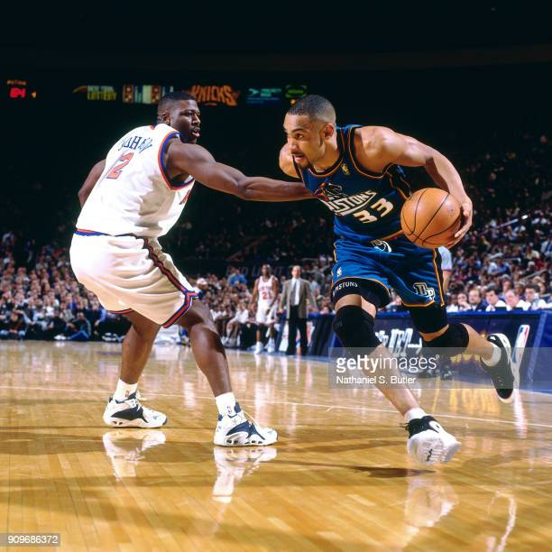 Grant Hill of the Detroit Pistons drives during a game played on March 26 1997 at Madison Square Garden in New York City NOTE TO USER User expressly...