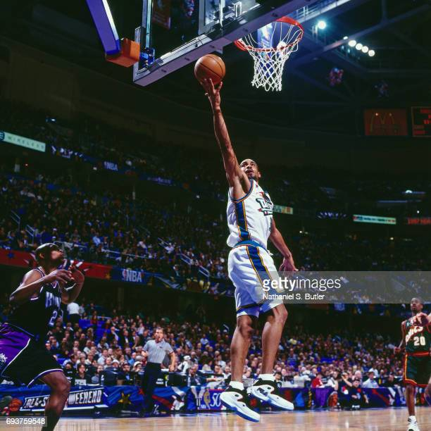 Grant Hill of the Detroit Pistons goes up for a lay up during the 1997 NBA AllStar Game played on February 9 1997 at Gund Arena in Cleveland Ohio...