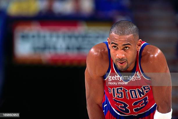 Grant Hill of the Detroit Pistons rests against the Sacramento Kings during a game played on October 17 1996 at Arco Arena in Sacramento California...