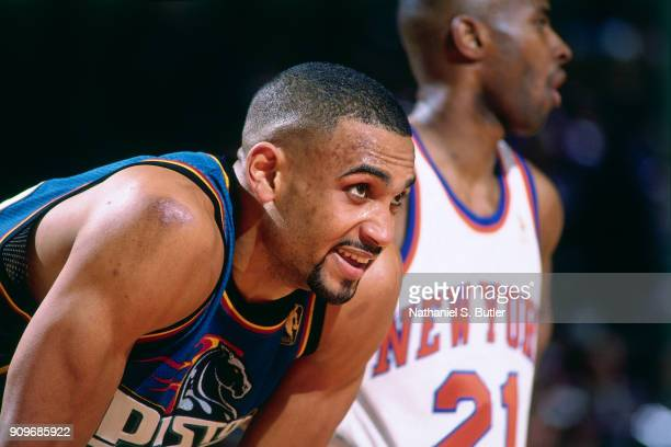 Grant Hill of the Detroit Pistons rests during a game played on March 26 1997 at Madison Square Garden in New York City NOTE TO USER User expressly...