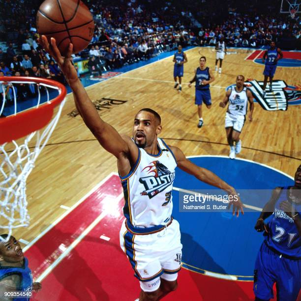 Grant Hill of the Detroit Pistons shoots during a game played on March 21 1997 at the Palace of Auburn Hills in Auburn Hills Michigan NOTE TO USER...