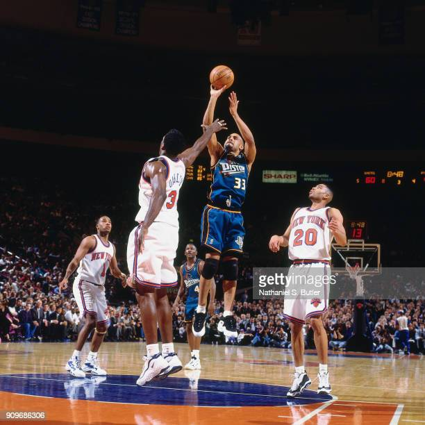 Grant Hill of the Detroit Pistons shoots during a game played on March 26 1997 at Madison Square Garden in New York City NOTE TO USER User expressly...