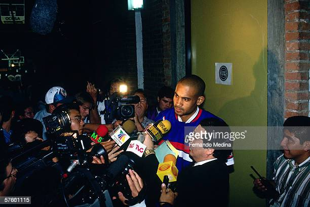 Grant Hill of the Detroit Pistons speaks to the media after the 1995 Mexico Challenge on October 29 1995 at the Palacio de los Deportes in Mexico...