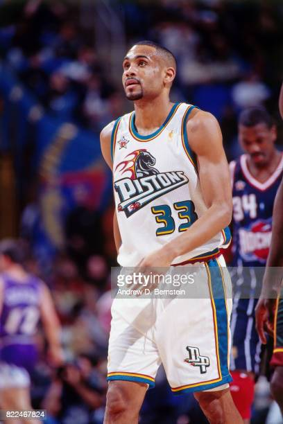 Grant Hill of the Detroit Pistons walks on the court during the 1997 AllStar Game on February 9 1997 at Gund Arena in Cleveland Ohio NOTE TO USER...