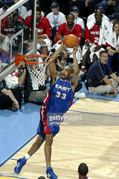 Grant Hill of the Eastern Conference AllStars goes for a dunk against the Western Conference AllStars during the 2005 NBA AllStar Game at the Pepsi...