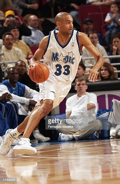 Grant Hill of the Orlando Magic drives to the basket during the NBA game against the Indiana Pacers at TD Waterhouse Centre on January 10 2003 in...