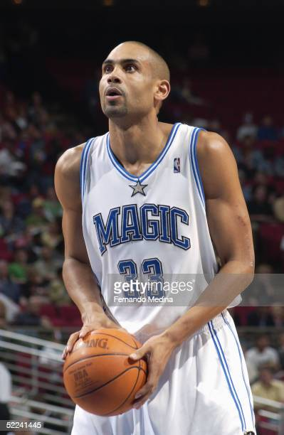 Grant Hill of the Orlando Magic shoots a free throw against the Washington Wizards during the game at TD Waterhouse Centre on January 28 2005 in...