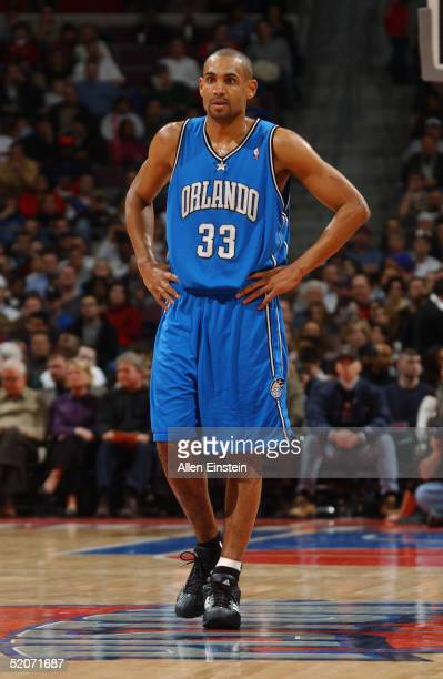 Grant Hill of the Orlando Magic stands on the court during the game with the Detroit Pistons on January 14, 2005 at the Palace of Auburn Hills, in...