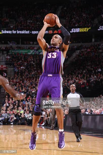 Grant Hill of the Phoenix Suns takes a jump shot during the game against the Portland Trail Blazers on January 27 2012 at the Rose Garden Arena in...