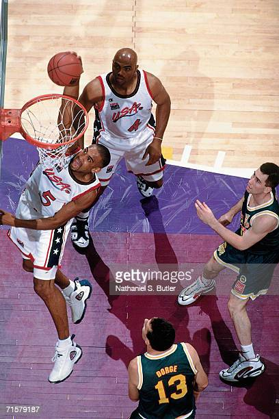 Grant Hill of the United States National Team elevates for a dunk against the Australian National Team during the 1996 Summer Olympics played July 12...