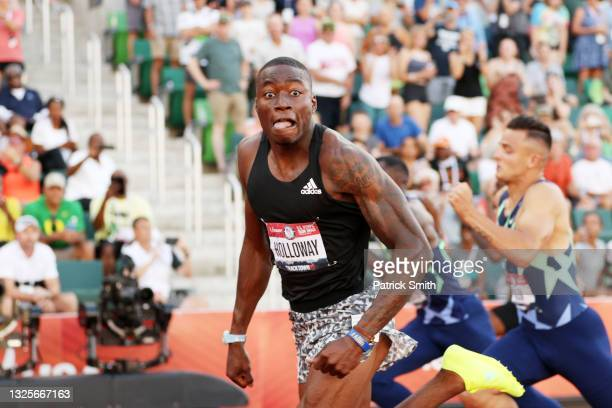 Grant Holloway celebrates finishing first in the Men's 110 Meters Hurdle Final on day nine of the 2020 U.S. Olympic Track & Field Team Trials at...