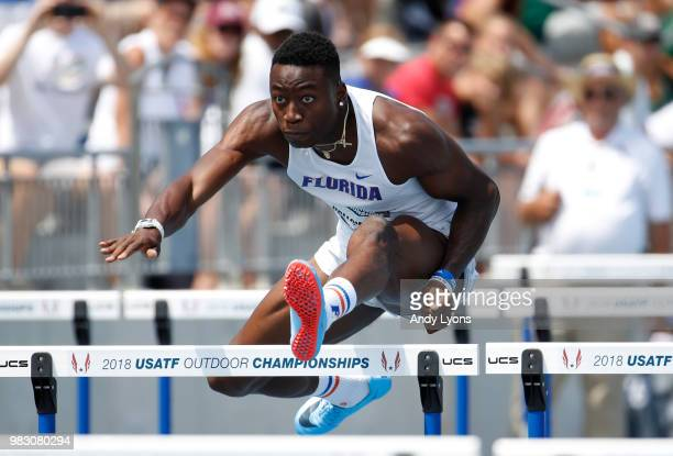 Grant Holloway clears a hurdle in the semifinal of the Mens 110 Meter Hurdles during day 4 of the 2018 USATF Outdoor Championships at Drake Stadium...