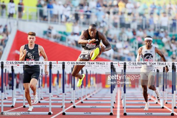 Grant Holloway competes in the Men's 110 Meters Hurdles Semi-Finals on day nine of the 2020 U.S. Olympic Track & Field Team Trials at Hayward Field...
