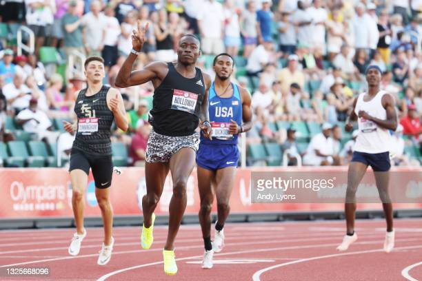 Grant Holloway crosses the finish line to win the Men's 110 Meters Hurdle Final on day nine of the 2020 U.S. Olympic Track & Field Team Trials at...