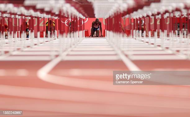 Grant Holloway of Team United States competes in the Men's 110m Hurdles Semi-Final on day twelve of the Tokyo 2020 Olympic Games at Olympic Stadium...