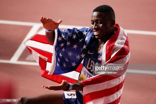 Grant Holloway of the United States celebrates winning gold in the Men's 110 metres hurdles final during day six of 17th IAAF World Athletics...