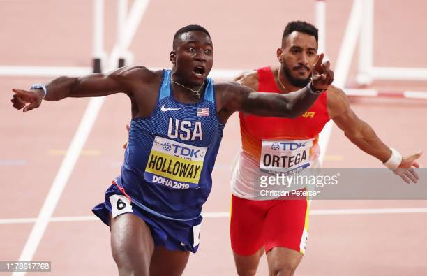 Grant Holloway of the United States celebrates winning the Men's 110 metres hurdles final during day six of 17th IAAF World Athletics Championships...