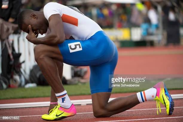 Grant Holloway of the University of Florida celebrates after competing in the 4 x 400 meter relay during the Division I Men's Outdoor Track Field...