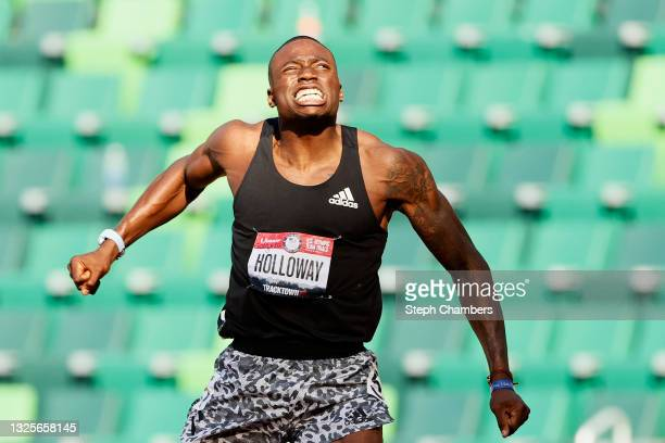 Grant Holloway reacts after competing in the Men's 110 Meters Hurdles Semi-Finals on day nine of the 2020 U.S. Olympic Track & Field Team Trials at...