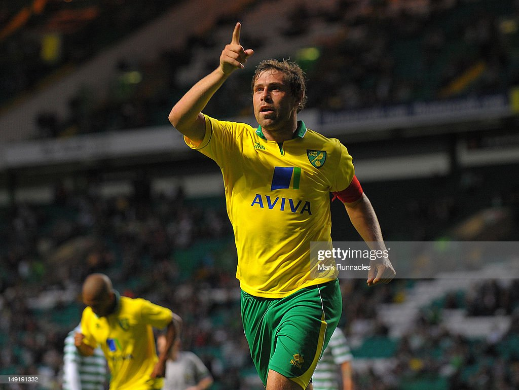 Grant Holt of Norwich City celebrating his winning goal during the pre-season friendly match between Celtic and Norwich City, at Celtic park on July 24, 2012 in Glasgow, Scotland.