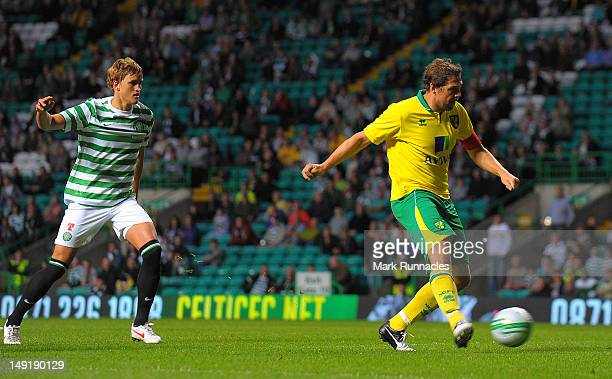 Grant Holt of Norwich City scores the winner during the preseason friendly match between Celtic and Norwich City at Celtic park on July 24 2012 in...