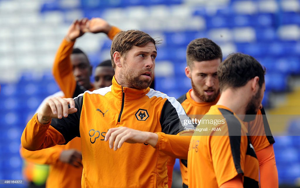 Grant Holt of Wolverhampton Wanderers warms up before the Sky Bet Championship match between Birmingham City and Wolverhampton Wanderers at St Andrews on October 31, 2015 in Birmingham, United Kingdom.