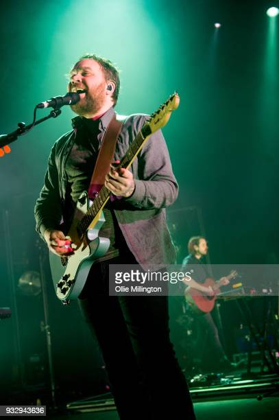Grant Hutchison and Simon Liddell of Frightened Rabbit perform onstage at O2 Forum Kentish Town on March 16 2018 in London England