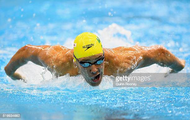 Grant Irvine of Australia competes in the Men's 200 Metre Butterfly during day three of the Australian Swimming Championships at the South Australia...