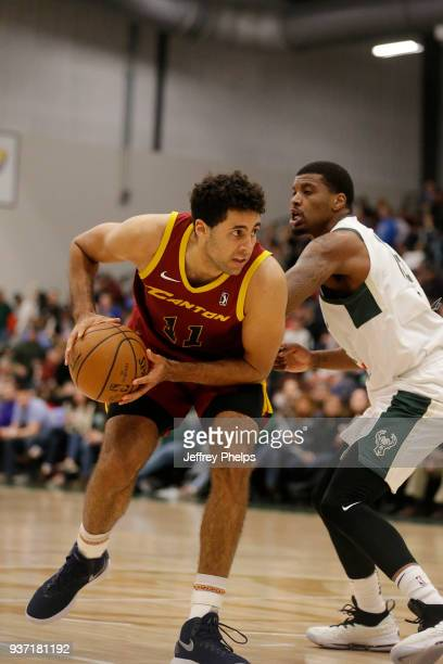 Grant Jerrett of the Canton Charge handles the ball against the Wisconsin Herd during the NBA GLeague game on March 23 2018 at the Menominee Nation...