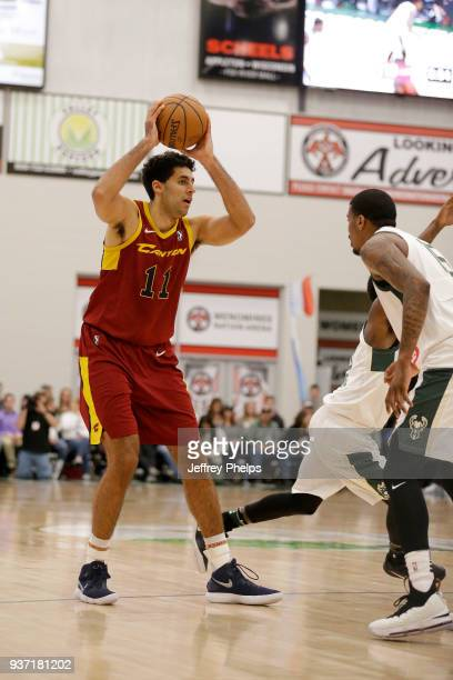 Grant Jerrett of the Canton Charge looks to pass the ball against the Wisconsin Herd during the NBA GLeague game on March 23 2018 at the Menominee...