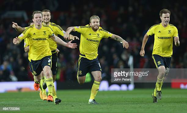 Grant Leadbitter Ben Gibson and Adam Clayton and Tomas Kalas of Middlesbrough celebrate after the Capital One Cup Fourth Round match between...