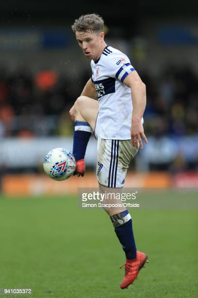 Grant Leadbitter of Boro in action during the Sky Bet Championship match between Burton Albion and Middlesbrough at the Pirelli Stadium on April 2...