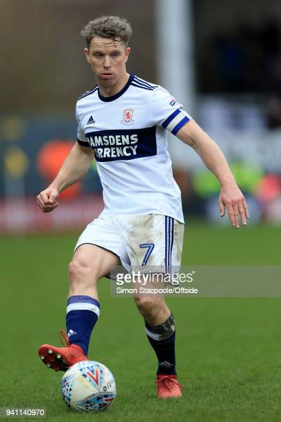 Grant Leadbitter of Boro in action during the Sky Bet Championship match between Burton Albion and Middlesbrough at the Pirelli Stadium on April 2,...