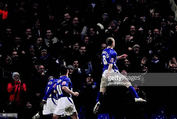 Grant Leadbitter of Ipswich Town celebtates his goal during the Coca Cola Championship game between Ipswich Town and West Bromwich Albion at Portman...