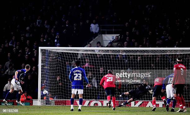 Grant Leadbitter of Ipswich Town scores a penalty during the Coca Cola Championship game between Ipswich Town and West Bromwich Albion at Portman...