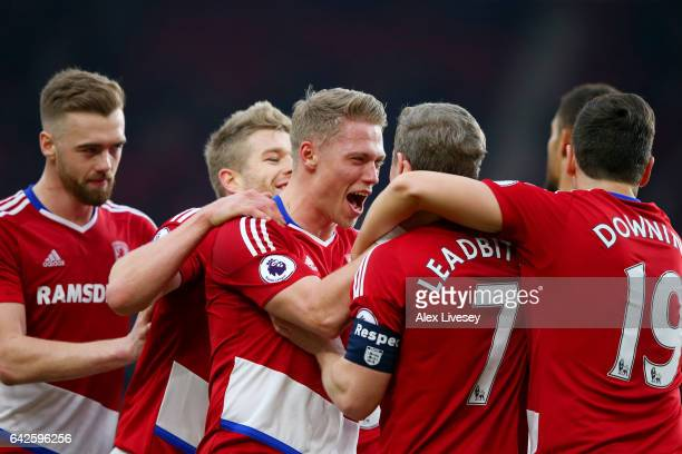 Grant Leadbitter of Middlesbrough celebrates scoring his sides first goal with his Middlesbrough team mates during The Emirates FA Cup Fifth Round...