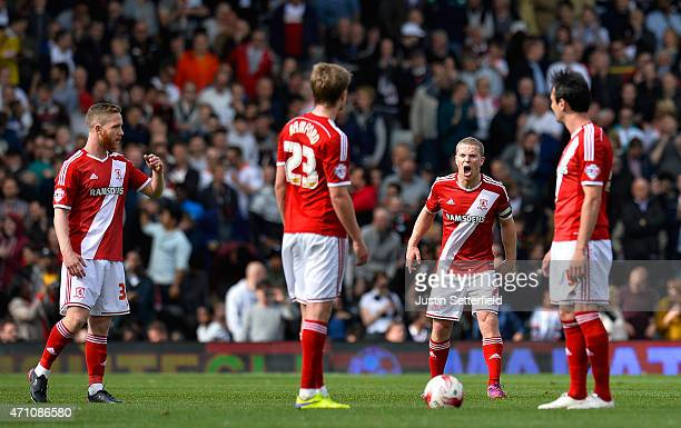 Grant Leadbitter of Middlesbrough FC urges on his teammates Patrick Bamford of Middlesbrough FC and Kike of Middlesbrough FC after conceading...