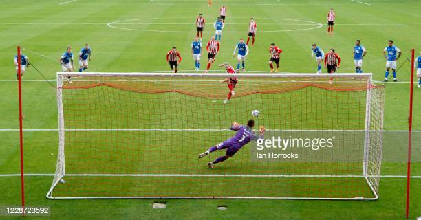 Grant Leadbitter of Sunderland scores the opening goal with a penalty during the Sky Bet League One match between Sunderland and Peterborough United...