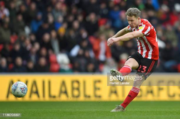Grant Leadbitter of Sunderland shoots during the Sky Bet League One match between Sunderland and Walsall at Stadium of Light on March 16, 2019 in...