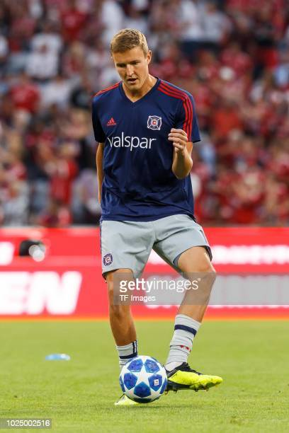 Grant Lillard of Chicago Fire controls the ball prior the friendly match between FC Bayern Muenchen and Chicago Fire at Allianz Arena on August 28...