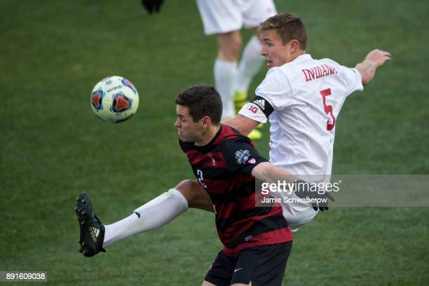 Grant Lillard of Indiana University and Foster Langsdorf of Stanford University battle for the ball during the Division I Men's Soccer Championship...