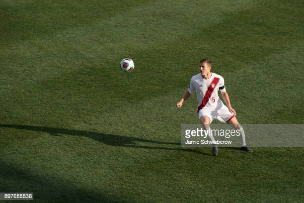 Grant Lillard of Indiana University tracks the ball against Stanford University during the Division I Men's Soccer Championship held at Talen Energy...